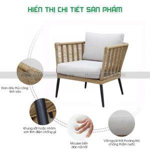 bộ bàn ghế nhựa giả mây cao cấp cho ban công khách sạn